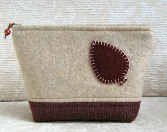 Autumn Leaf Zip Pouch, Eco Friendly, Upcycled Felted Wool Clutch