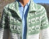 vintage 60s COWICHAN sweater cardigan hand knit coat jacket geometric shawl collar Medium Large unisex tribal 70s