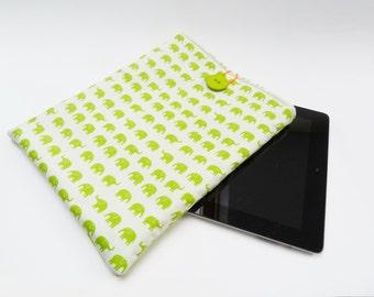Green and white cotton elephant fabric iPad sleeve