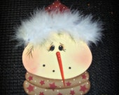 Snowman Ornament  Wood Hand painted Faux Fur Holiday Home Decor Christmas Decoration