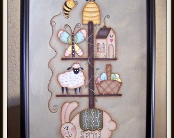 Spring Bunny Sheep Saltbox Butterfly Canvas Framed Home Wall Decor