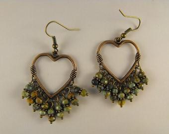 La Luxe Amor. Unakite and Antique FInish Copper Heart  Drop Earrings