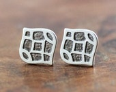 Sterling Silver Etched Art Deco Inspired Marquis Studs