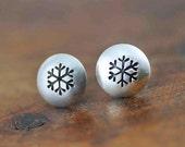 Tiny Silver Snowflake Stud Earrings