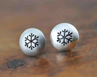 Tiny Silver Snowflake Stud Earrings