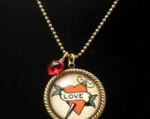 Love Dagger 25mm Round Necklace with Red Heart Bead and Brass Ball Chain