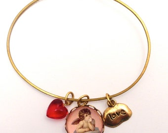 Cloud 9 Cherub with Love Tag Charm and Red Heart Valentine or Any Time