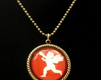 Cupid Silouette on Red Background 25mm Round Necklace
