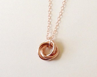 14K Rose Gold Filled Trinity Necklace, 14K Rose Gold Filled Love Knot Necklace