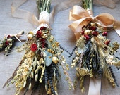 Fall Winter Wedding  Brides, Bridesmaids or Flower Girls Bouquet of Lavender Roses Larkspur Gilded and Green Wheat and other dried flowers