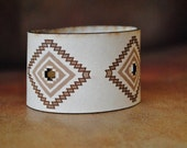 Natural Veg Tan Laser etched leather cuff