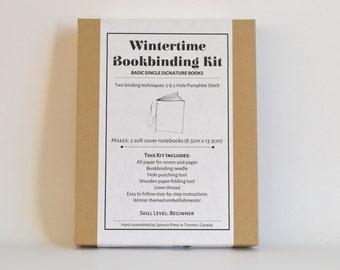 Wintertime Bookbinding Kit, Make 2 Basic Soft Cover Notebooks, DIY Navy Blue & Aqua Blue