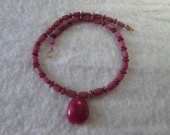 Magenta Beaded Necklace