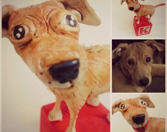 Customize your Dog clay folk art sculpture or Pet memorial made from your pet photographs