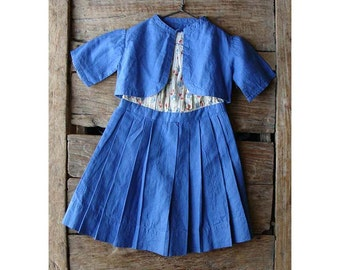 Vintage Blue Pleated Cotton Doll Dress