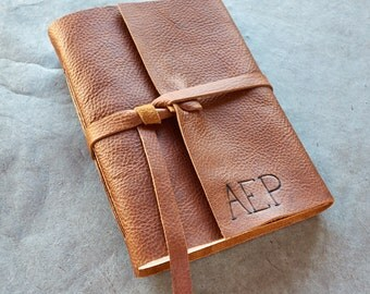 Brandy Leather Journal or Sketchbook - Option to be Personalized with Initials