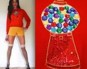 Vintage 60s 70s Gumball Machine Sequined Red Cropped Sweater