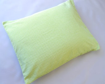 The Perfect Toddler Pillow ...Spring Lime Grass Green Basket Weave Flannel Cotton ... Original Design by Sew Cinnamon