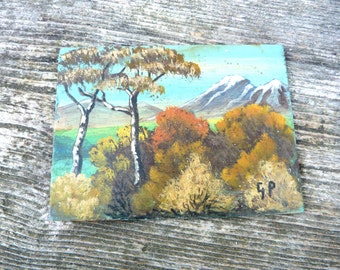 Vintage naive painting landscape /French