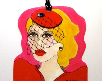 VERONICA GIFT TAG, greeting card, hanging gift tag, lipstick red, hat with veil, rhinestones, fun quote, gift for her, hot pink, blond