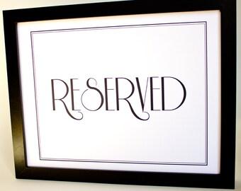 Reserved Sign Printable DIY Digital File PDF Wedding Decor Reception Sign 8x10 Retro Formal Special Event Party Signage