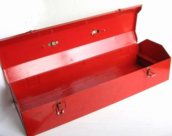 Chippy Red Industrial Metal Toolbox & Tray Leather Handle Tool Box