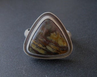 SALE Big Picasso Jasper and Sterling Silver Unisex Ring Size 10.5