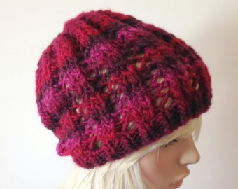 Womens Hand Knit Slouch Hat, Wine, Burgundy hat with rib and lace, Winter hat, Fall accessories Vegan