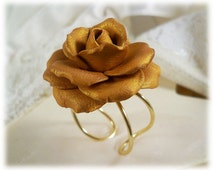 Gold Rose Ring - Golden Flower Ring, Adjustable Clay Gold Rose Ring, June Birthday Gift Idea, Flower Jewelry