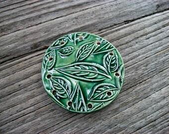Handmade Ceramic Leaf Pine Needle Basket Base in Emerald Green