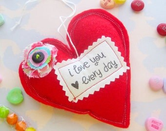 Red Felt Heart Ornament I Love You - Valentine