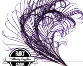 3 - Curled - Purple - Peacock Stems - Sprigs -  Feathers - Millinery - Fascinators