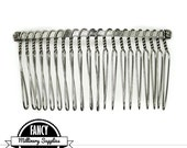 1 - Large - Silver - Metal Wire - Hair Comb - Hat Comb - Veil Comb - 2.75  Inches Wide - 20 Teeth