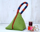 Recycled Wool Triangle Pouch in Chartreuse Orange and Blue