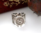 SILVER RING - Initial - Letter S Filigree Floral Ring - Antique Silver Ring ~ Adjustable Statement Ring ~ Jewelry (RE-1)