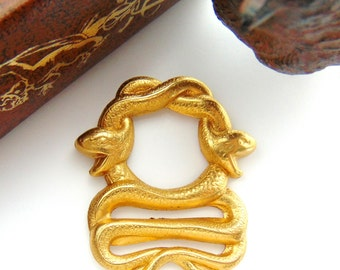 BRASS (2 Pieces) Double Egyptian SNAKE Stampings - Jewelry Finding (FB-6084) #