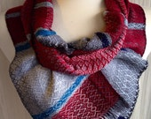 Shades of Gray with Ruby Red and Silver Handwoven Scarf DBJ 34