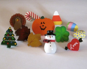 Holiday Assortment of Push Pins for Bulletin Board