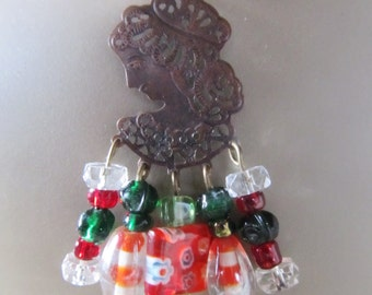 Handmade Beaded Chandelier Necklace, Woman With Christmas Candy Collar