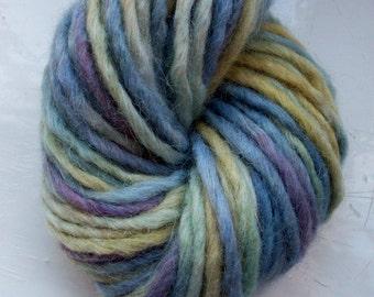 Hand painted merino alpaca yarn blue, gold, green, violet 100g