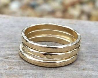 Gold Slim Hammered Stacking Ring Band - Engagement, Wedding, Everyday Wear Solid Gold Stackable Jewelry - One Ring