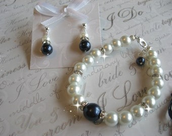 Swarovski Navy Night Blue Pearl and Rhinestone Bridal Bracelet and Earring Set - Bride or Bridemaid Jewelry Set - Choose Your Color