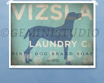 Vizsla laundry company laundry room artwork giclee archival signed artists print by Stephen Fowler