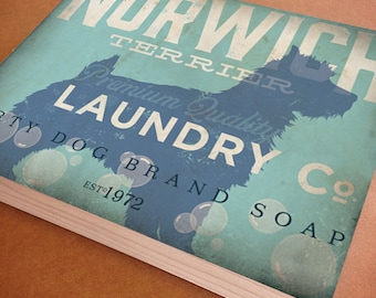 Norwich Terrier dog Laundry Company illustration graphic art on canvas panel  by stephen fowler