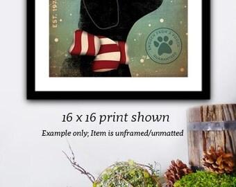 Black Dog Mistletoe giclee archival signed artist's print illustration by stephen fowler geministudio
