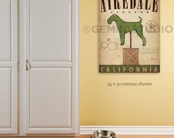 Airedale Terrier Dog Topiary garden illustration graphic art on gallery wrapped canvas by stephen fowler Choose your Breed