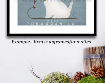 Westie west highland terrier dog toboggan winter holiday illustration graphic art on giclee print