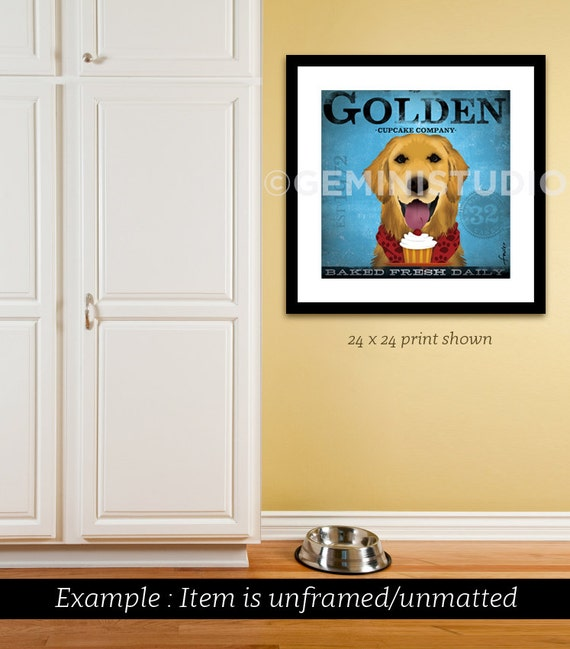Golden Retriever dog Cupcake Company illustration signed artist's print by Stephen Fowler