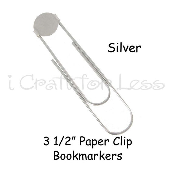 100 SILVER - Large Paper Clip Bookmarkers with Glue Pad - 3 1/2 Inch - 10 PERCENT REFUND
