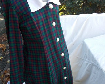 Vintage Holiday Dress plaid knit bust 38/40 sz 12/14